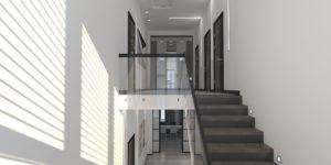 Коттедж современная лестница